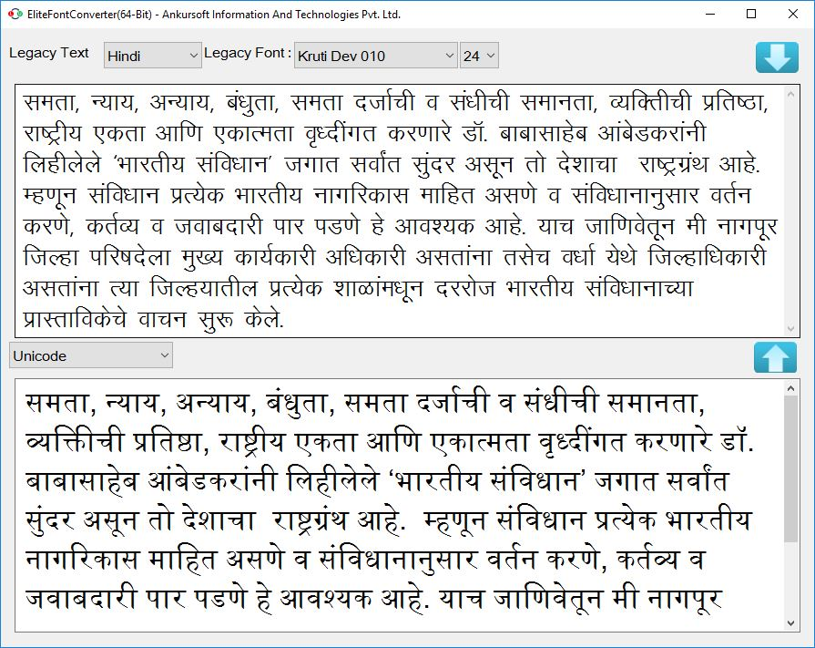Converting Legacy Font to Unicode(Mangal) Text for Internet Publishing