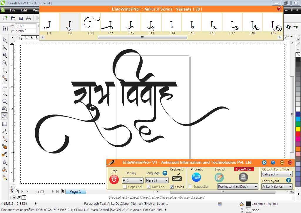EliteWriterPro+ : A Unique Calligraphic Designing Software